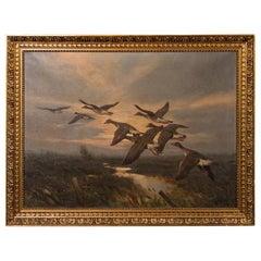 Vintage Original Oil Painting of a Flight of Geese, Knud Edsberg