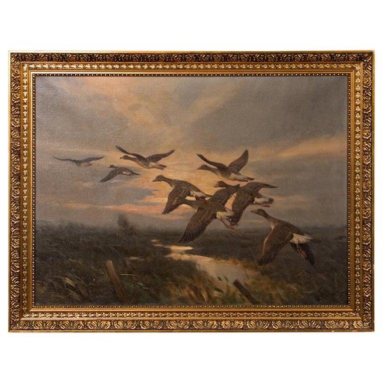 Vintage Original Oil Painting of a Flight of Geese, Knud Edsberg For Sale