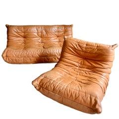 Vintage Original Saddle Leather Ligne Roset Togo Sofa and Fireside Chair