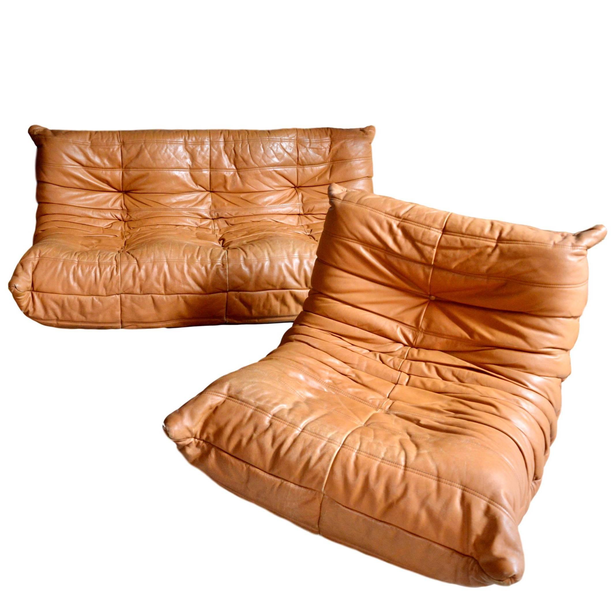 Vintage Original Saddle Leather Ligne Roset Togo Sofa And Fireside Chair  For Sale