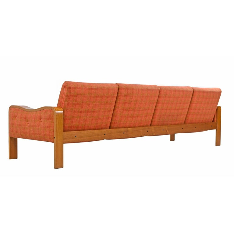 Scandinavian Modern Vintage Original Danish Modern Sofa Couch - Bent Teak Plaid Wool Fabfic For Sale
