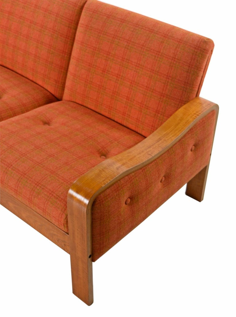 Vintage Original Scandinavian Bent Teak Plaid Wool Upholstered Sofa Couch, 1970s In Excellent Condition For Sale In Saint Petersburg, FL
