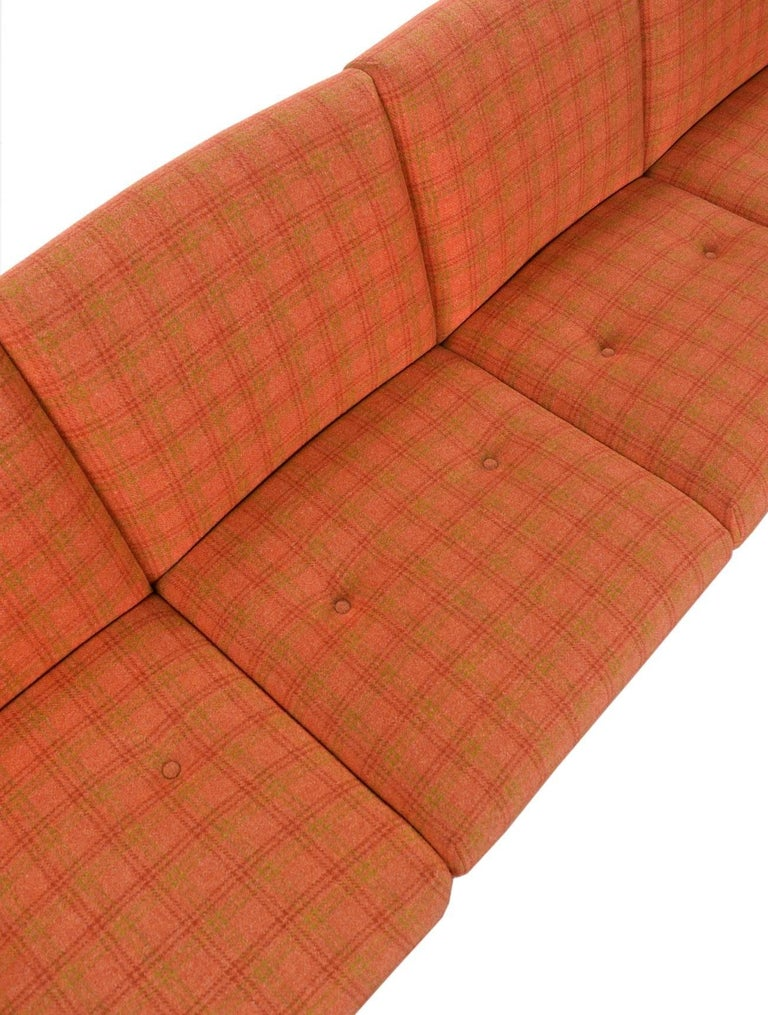 Late 20th Century Vintage Original Scandinavian Bent Teak Plaid Wool Upholstered Sofa Couch, 1970s For Sale