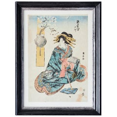 Vintage Original Woodblock Print in Antique Frame, Japan, 19th Century