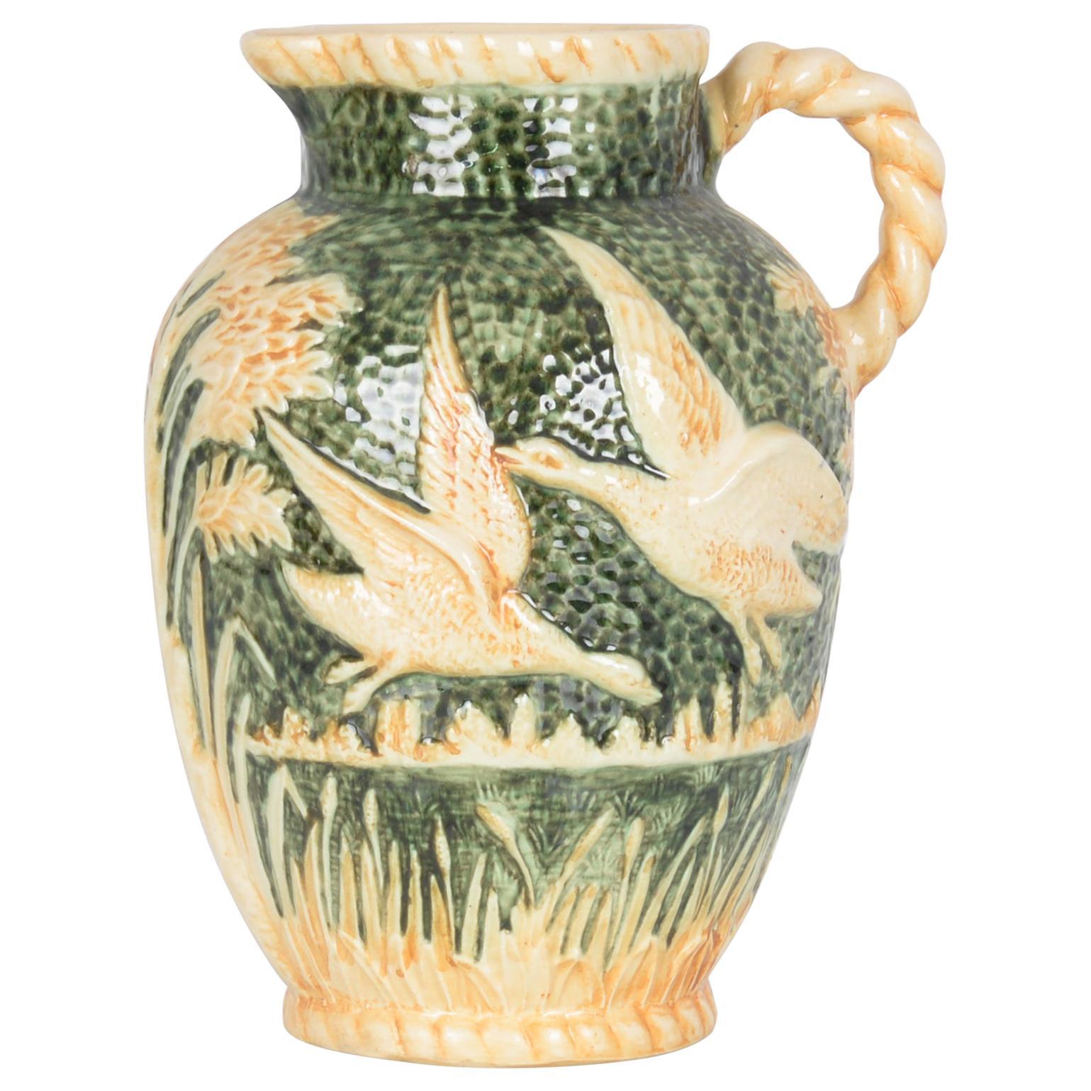 Vintage Ornate Belgian Green Ceramic Vase