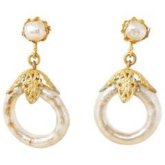 Vintage Ornate Filigree Baroque Pearl Hoop Earrings by Miriam Haskell, 1950s