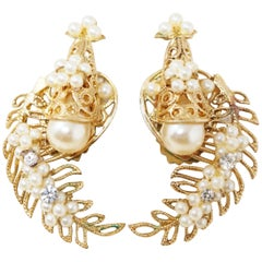 Vintage Ornate Filigree & Pearl Climber Statement Earrings, 1950s