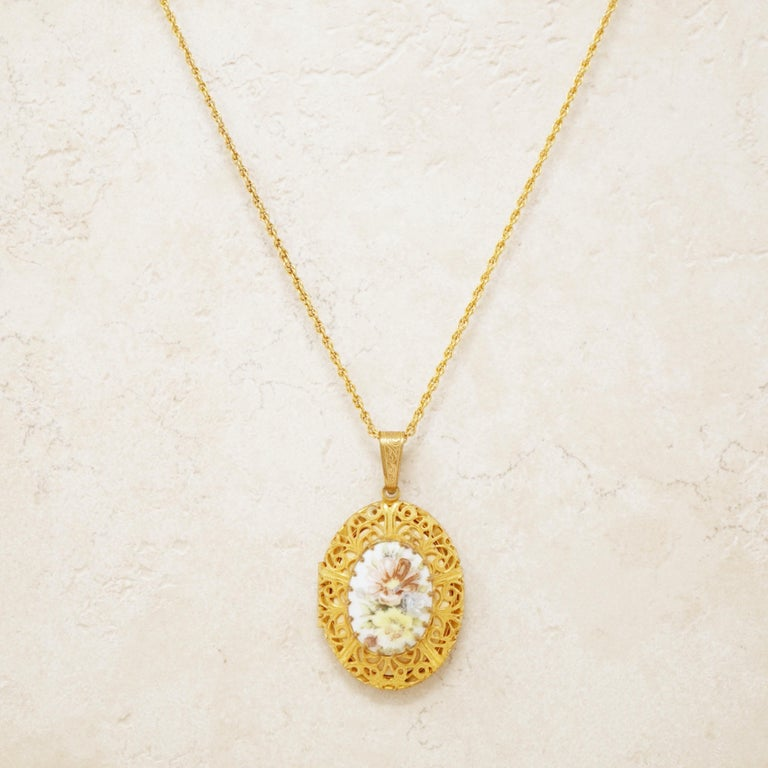 Modern Vintage Ornate Gilded Floral Locket Pendant Necklace by Miriam Haskell, 1950s For Sale