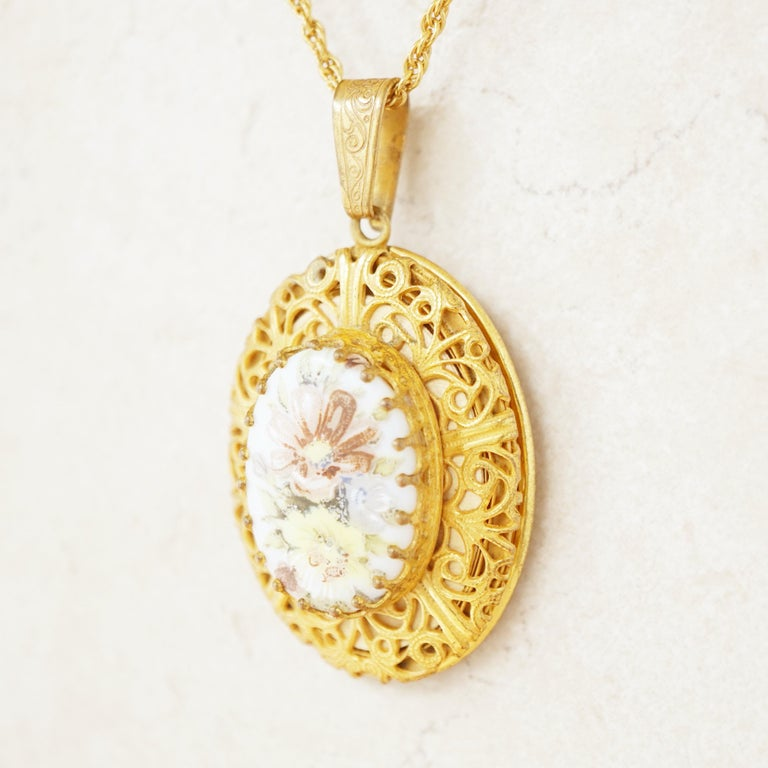 Vintage Ornate Gilded Floral Locket Pendant Necklace by Miriam Haskell, 1950s In Excellent Condition For Sale In Los Angeles, CA