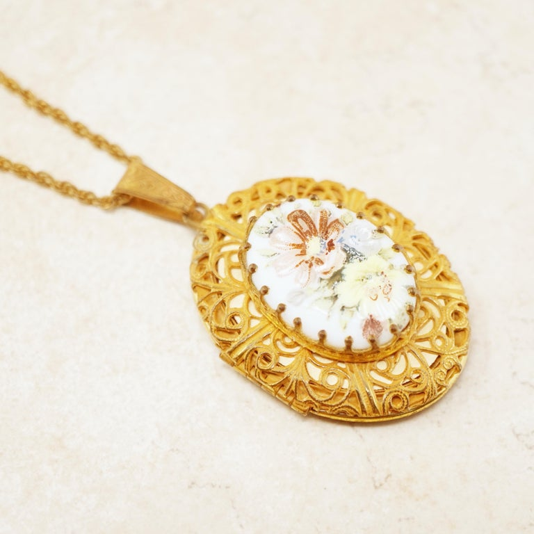 Women's Vintage Ornate Gilded Floral Locket Pendant Necklace by Miriam Haskell, 1950s For Sale