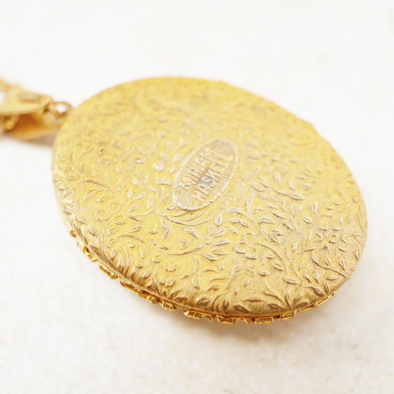 Vintage Ornate Gilded Floral Locket Pendant Necklace by Miriam Haskell, 1950s For Sale 1