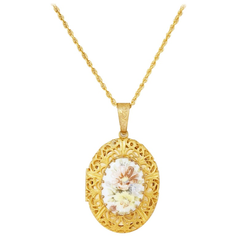 Vintage Ornate Gilded Floral Locket Pendant Necklace by Miriam Haskell, 1950s For Sale