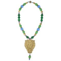Vintage Ornate Gold Medallion Glass Bead Bohemian Necklace