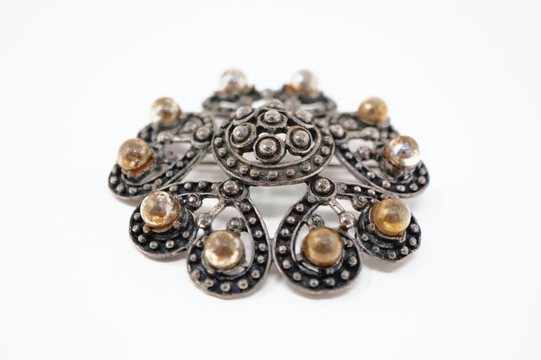 Vintage Ornate Gunmetal Gothic Victorian Revival Brooch by Florenza, circa 1960 In Good Condition For Sale In Los Angeles, CA