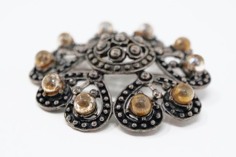 Women's or Men's Vintage Ornate Gunmetal Gothic Victorian Revival Brooch by Florenza, circa 1960 For Sale
