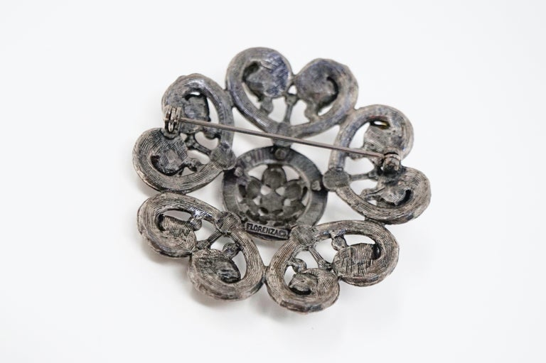 Vintage Ornate Gunmetal Gothic Victorian Revival Brooch by Florenza, circa 1960 For Sale 4