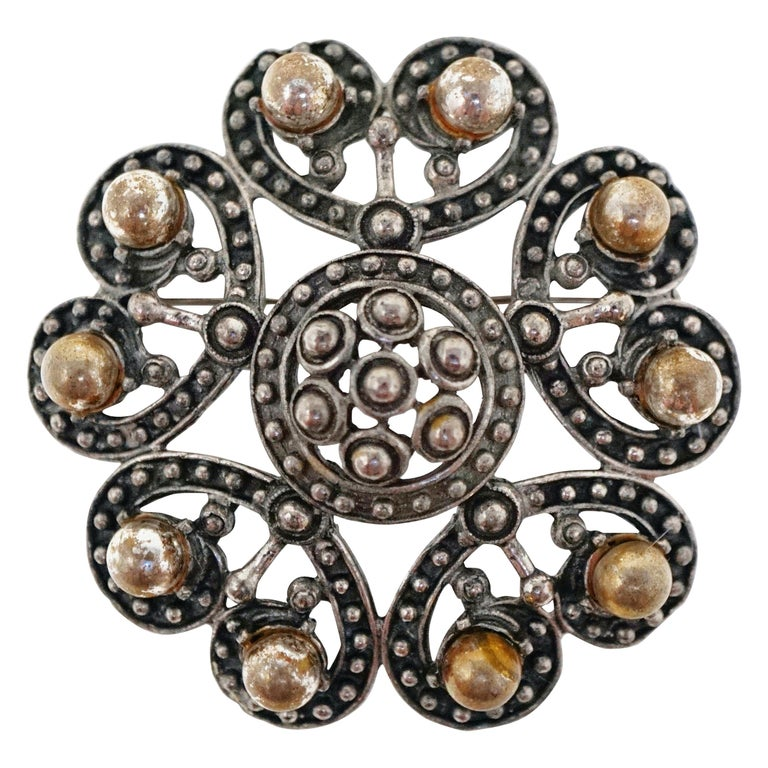 Vintage Ornate Gunmetal Gothic Victorian Revival Brooch by Florenza, circa 1960 For Sale
