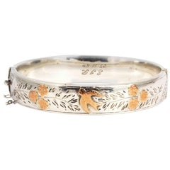 Vintage Ornate Rose Gold Detailed Silver Bangle
