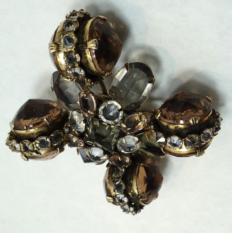 Vintage Ornate Topaz & Clear Color Crystal Brooch/Pendant In Good Condition For Sale In New York, NY