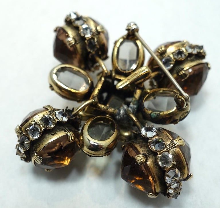 Women's or Men's Vintage Ornate Topaz & Clear Color Crystal Brooch/Pendant For Sale