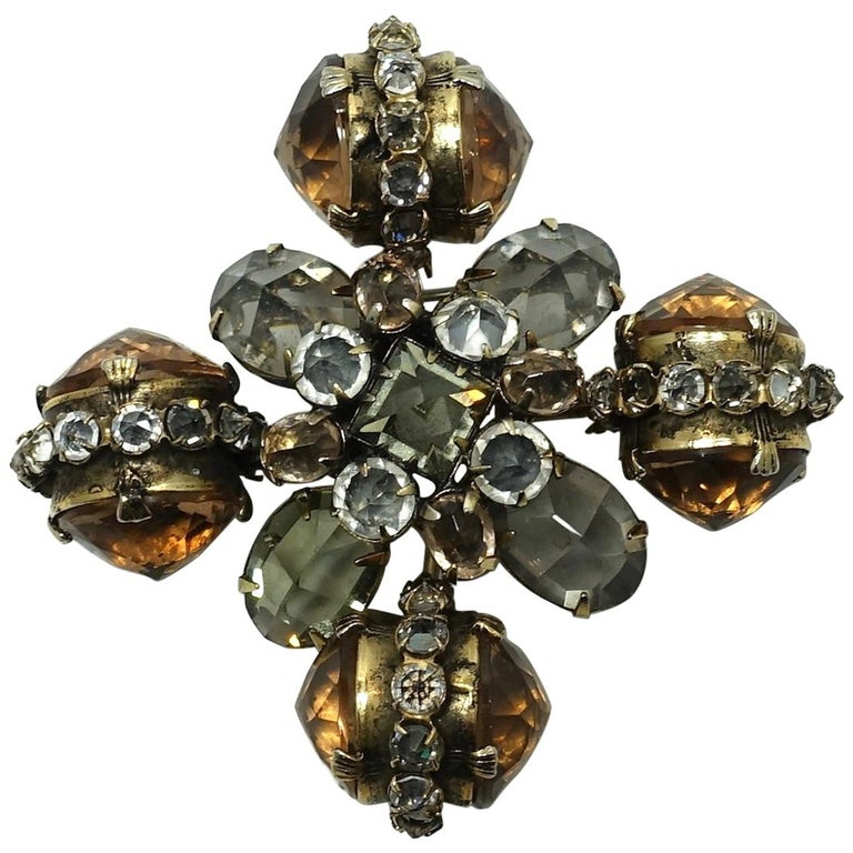 Vintage Ornate Topaz & Clear Color Crystal Brooch/Pendant For Sale