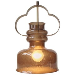 Vintage Orrefors 'Three Clover' Pendant Lamp in Smoke Glass, 1960s, Sweden