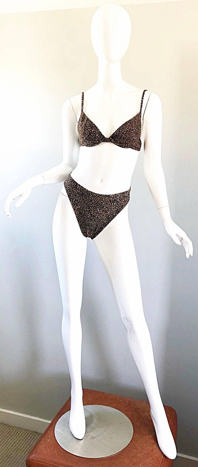 cca0b9b9a59f Vintage Oscar de la Renta 1980s Three Piece Leopard Print 80s Bikini and  Wrap For Sale