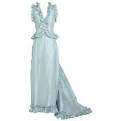 Vintage Oscar de la Renta  Baby Blue Silk Taffeta Gown Ensemble
