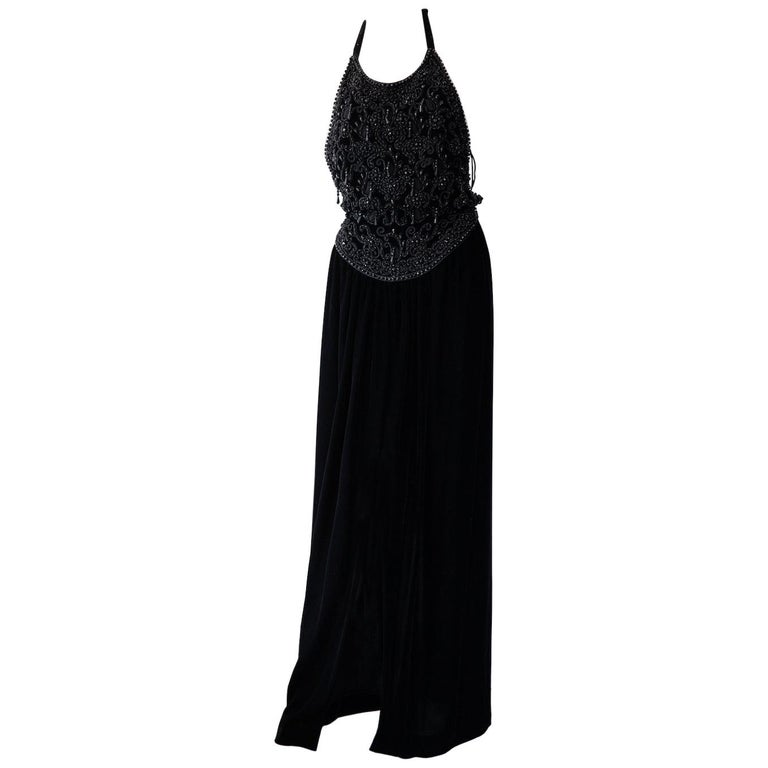 Vintage Oscar De La Renta Beaded Velvet Gown For Sale