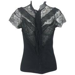 Vintage Oscar de la Renta Black Chantilly Lace and Cashmere Knit Blouse 1990s