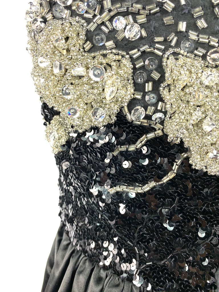Vintage OSCAR DE LA RENTA Black Silk and Swarovski Maxi Evening Dress Gown  For Sale 8