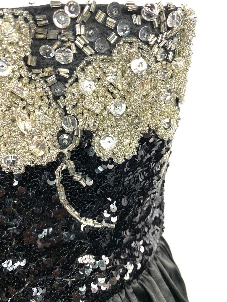 Vintage OSCAR DE LA RENTA Black Silk and Swarovski Maxi Evening Dress Gown  For Sale 9
