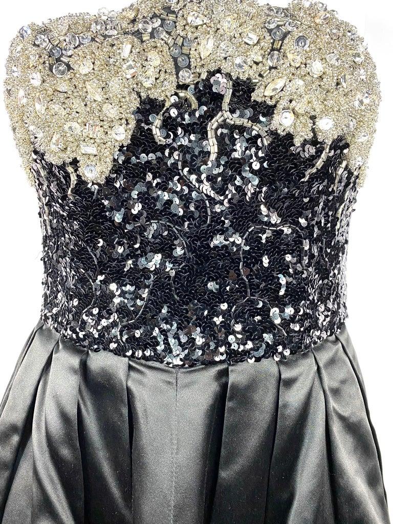 Vintage OSCAR DE LA RENTA Black Silk and Swarovski Maxi Evening Dress Gown  For Sale 11