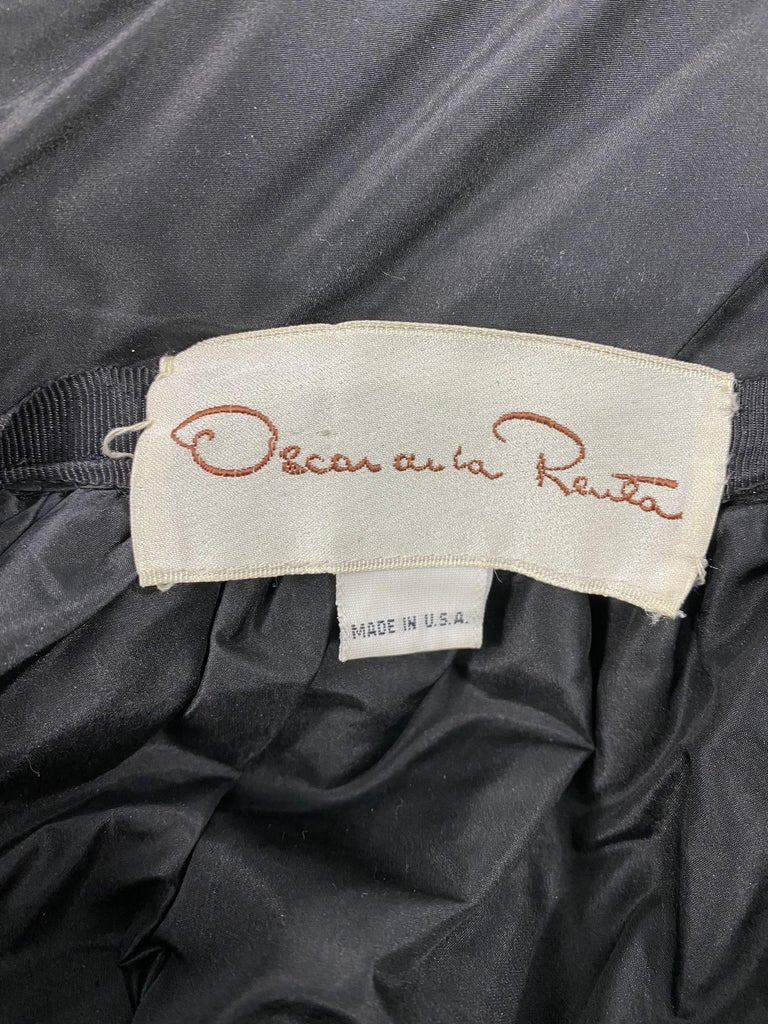 Vintage OSCAR DE LA RENTA Black Silk and Swarovski Maxi Evening Dress Gown  For Sale 12