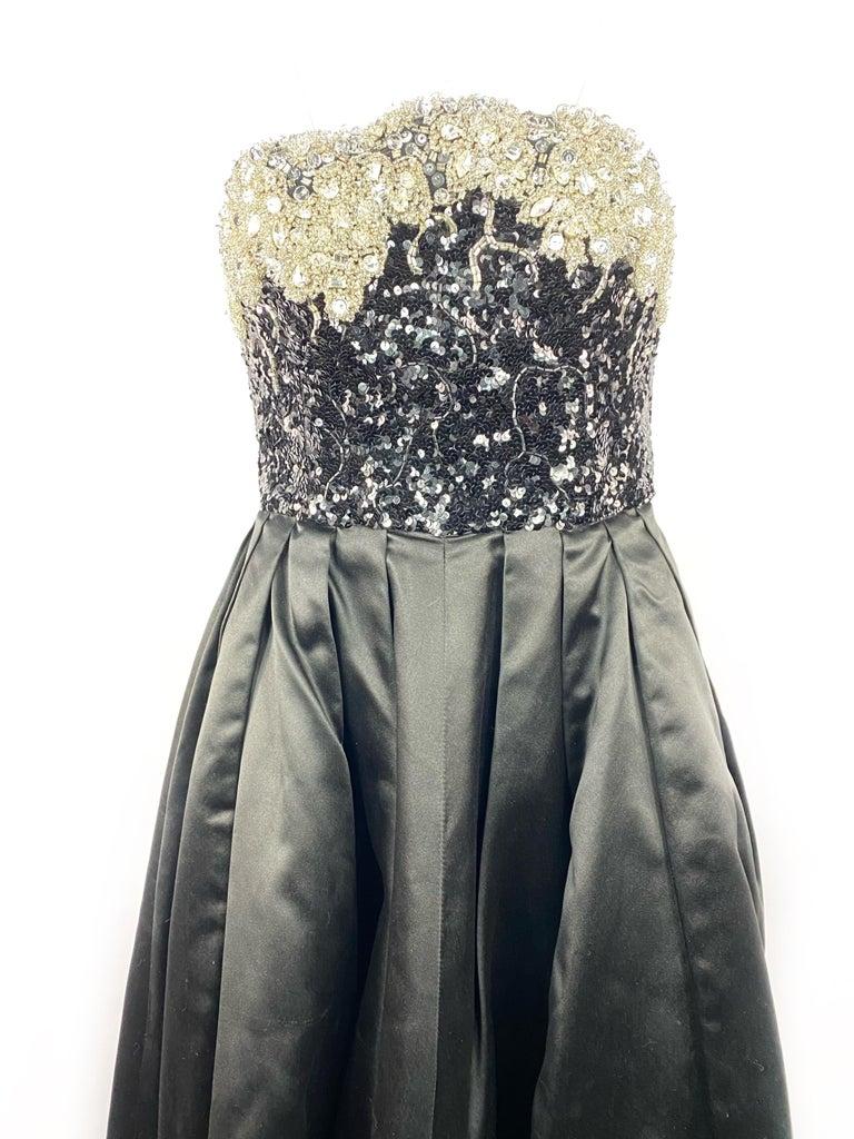 Vintage OSCAR DE LA RENTA Black Silk and Swarovski Maxi Evening Dress Gown  For Sale 1