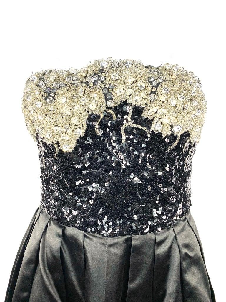 Vintage OSCAR DE LA RENTA Black Silk and Swarovski Maxi Evening Dress Gown  For Sale 2