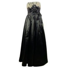 Vintage OSCAR DE LA RENTA Black Silk and Swarovski Maxi Evening Dress Gown