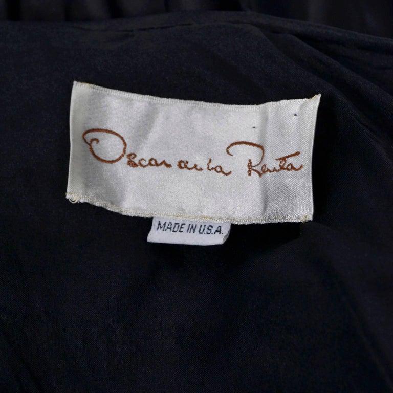 Vintage Oscar de la Renta Silk Evening Coat with Black Ruffles Lined in Organza For Sale 5