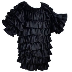 Vintage Oscar de la Renta Silk Evening Coat with Black Ruffles Lined in Organza