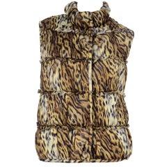 Vintage Oscar de la Renta Fall 2009 Leopard Animal Print Zip Front Vest