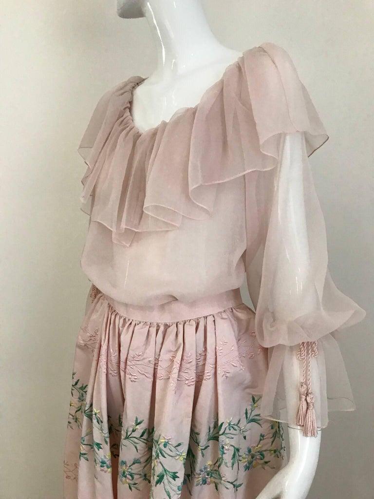 Vintage Oscar De La Renta Light Pink Blouse and Embroidered Maxi Skirt  For Sale 5