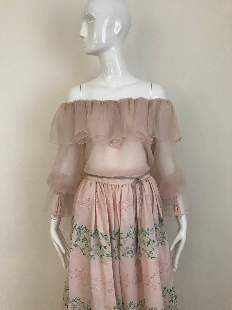 Beige Vintage Oscar De La Renta Light Pink Blouse and Embroidered Maxi Skirt  For Sale