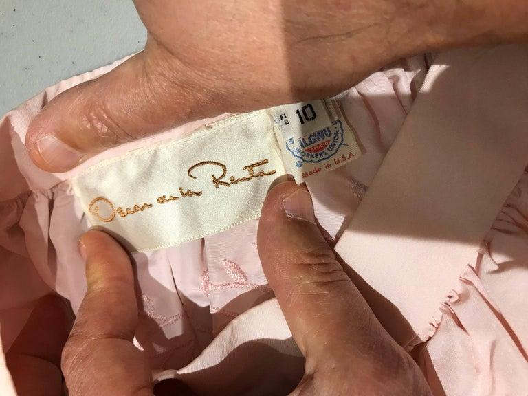 Women's Vintage Oscar De La Renta Light Pink Blouse and Embroidered Maxi Skirt  For Sale