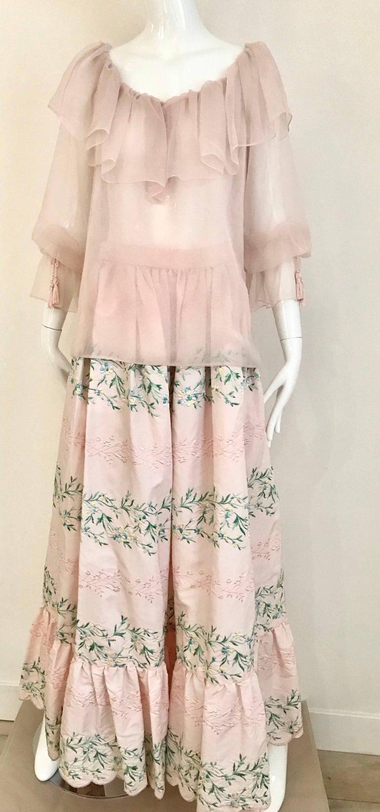 Vintage Oscar De La Renta Light Pink Blouse and Embroidered Maxi Skirt  For Sale 1