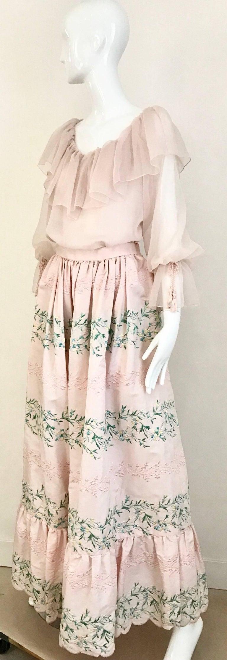 Vintage Oscar De La Renta Light Pink Blouse and Embroidered Maxi Skirt  For Sale 2