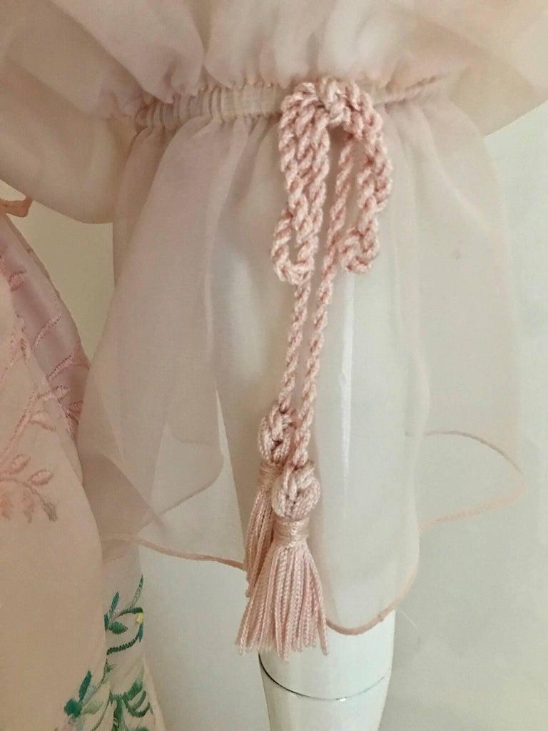 Vintage Oscar De La Renta Light Pink Blouse and Embroidered Maxi Skirt  For Sale 3
