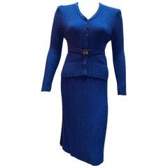 Vintage Oscar De La Renta matching sweater skirt knitted royal blue ensemble