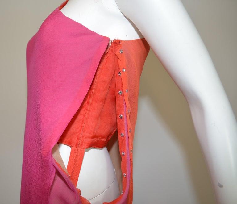 Pink Vintage Oscar de la Renta One Shoulder Asymmetric Chiffon Dress For Sale