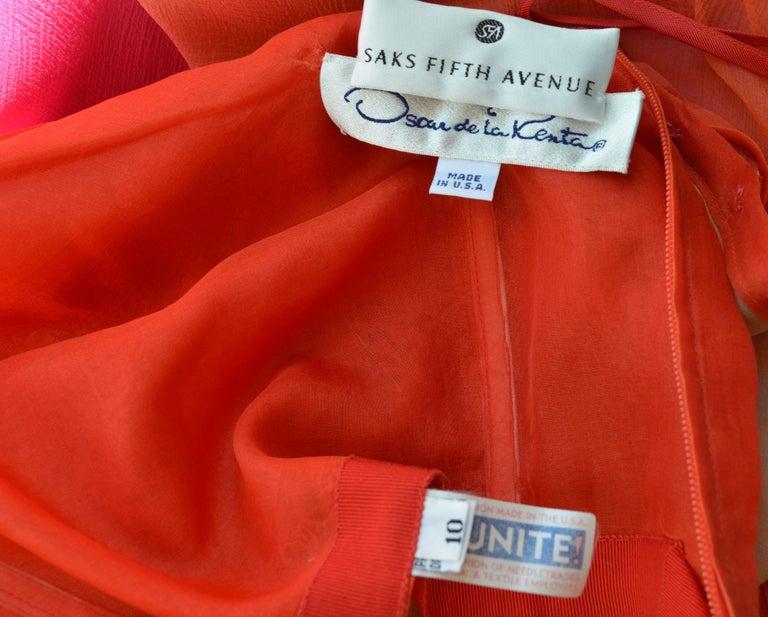 Vintage Oscar de la Renta One Shoulder Asymmetric Chiffon Dress In Good Condition For Sale In Carmel by the Sea, CA