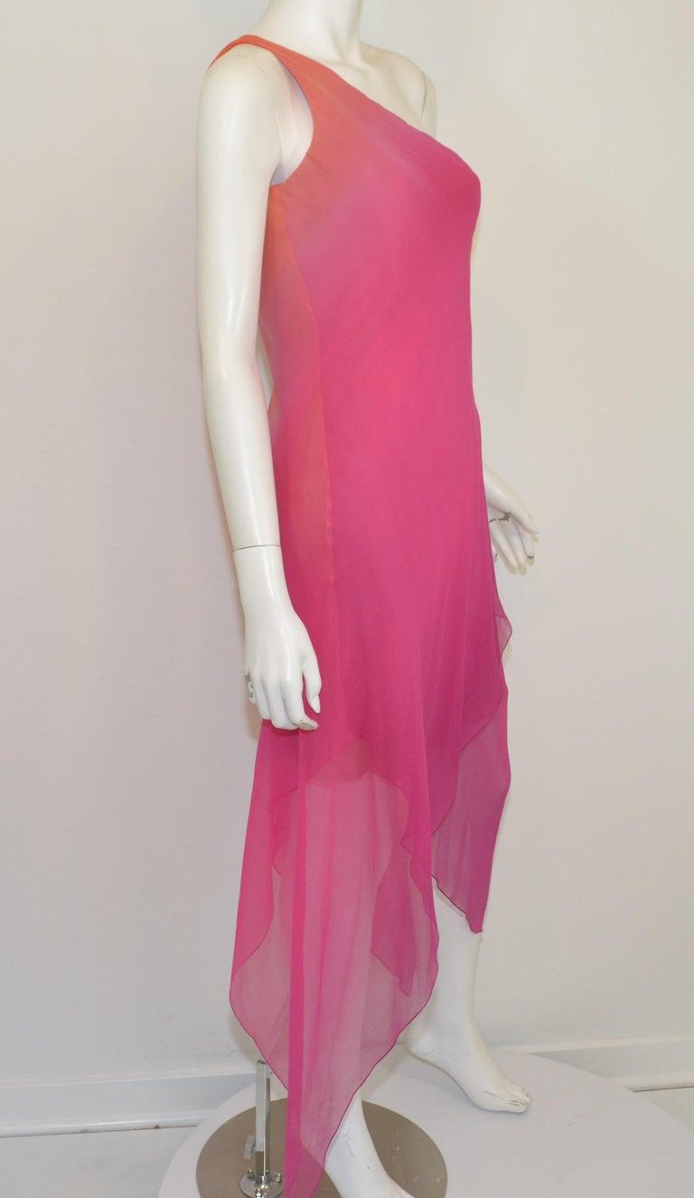 Women's Vintage Oscar de la Renta One Shoulder Asymmetric Chiffon Dress For Sale